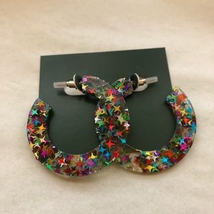 Jewelry - Clear Acrylic Multi Colored Stars Hoop Earrings